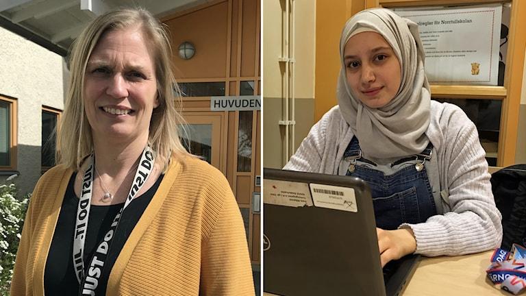 Rektorn Åsa Jääger har blont halvlångt hår och gulkofta. Eleven Sara Alkamel har grå sjal och grå tröja.