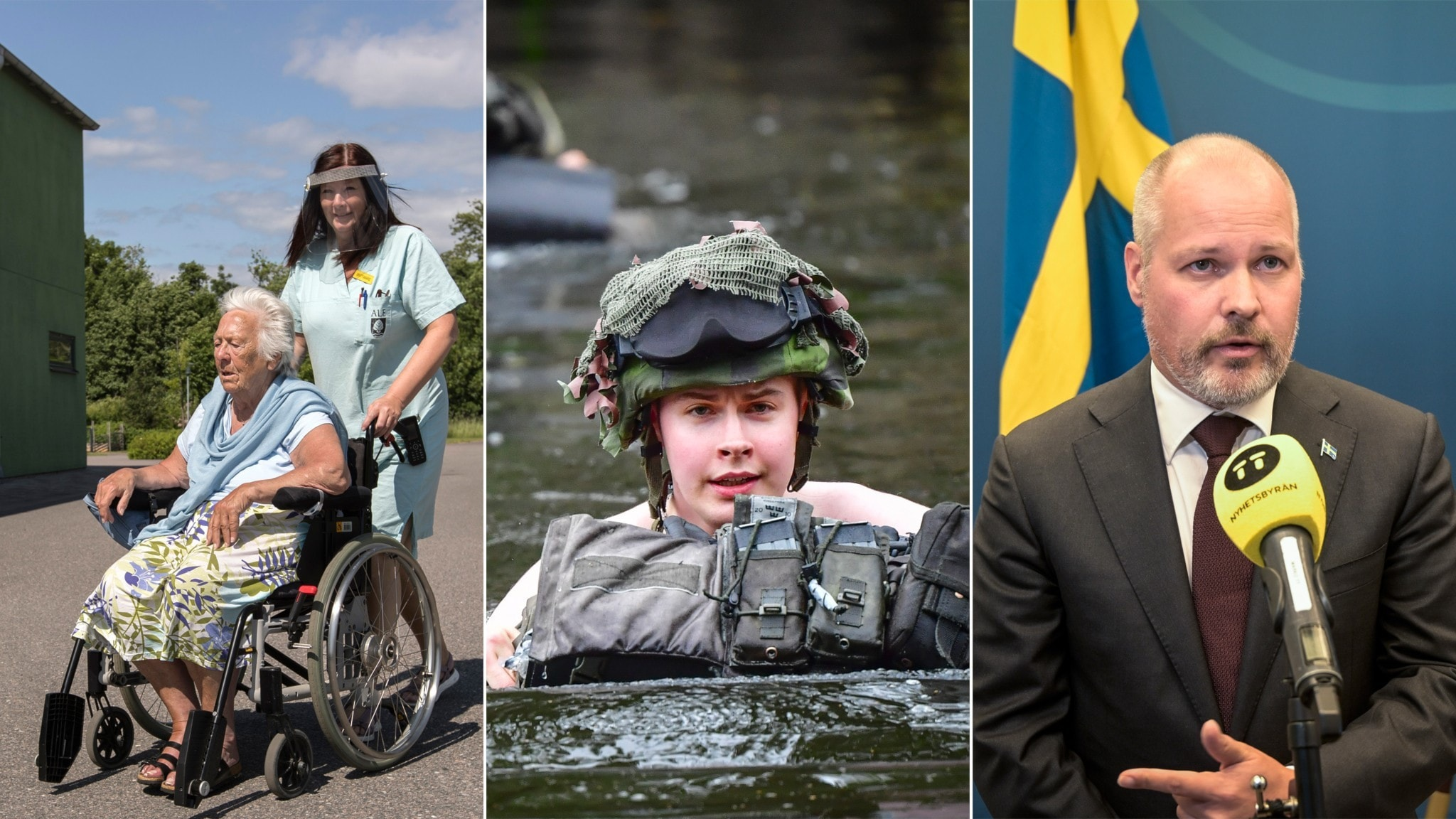 A split photo of a nurse pushing a woman in a wheelchair, a soldier swimming with his helmet on and a man being interviewed.