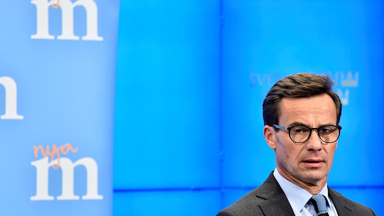 Moderate leader Ulf Kristersson presneting his party's shadow budget.