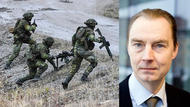 Två bilder: ena av tre personer i camouflagekläder som springer upp på en väg. Den andra porträtt på en man i slips och kavaj.