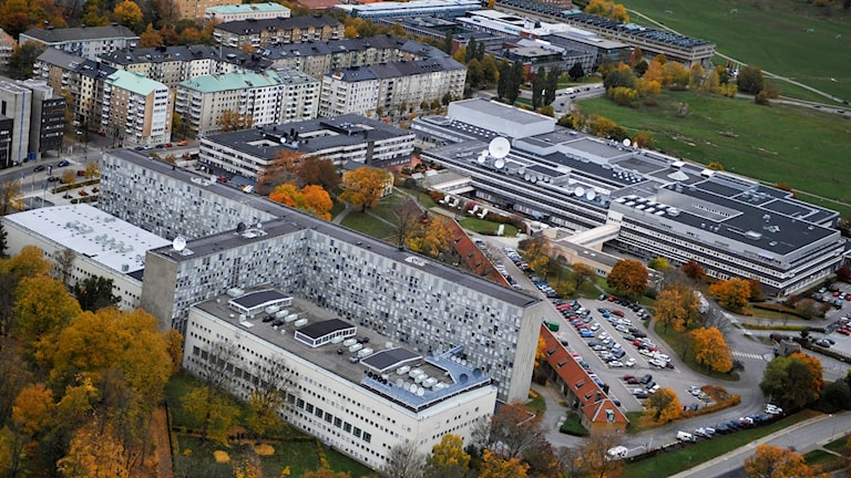 An aerial view of Swedish Radio's and Swedish Television's headquarters in Stockholm.