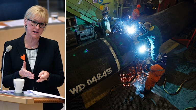 Foreign Minister Margot Wallström and workers on the original Nord Stream gas line.