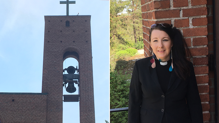 Two photo: a belfry at a church and a woman in front of a brick wall.