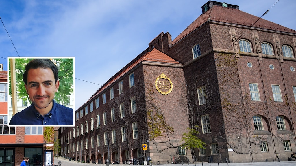 Picture of an old university building, with a picture of a young man next to it.