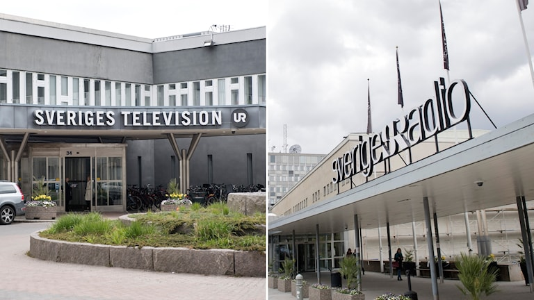 The building entrances of Swedish Radio and Swedish Television.