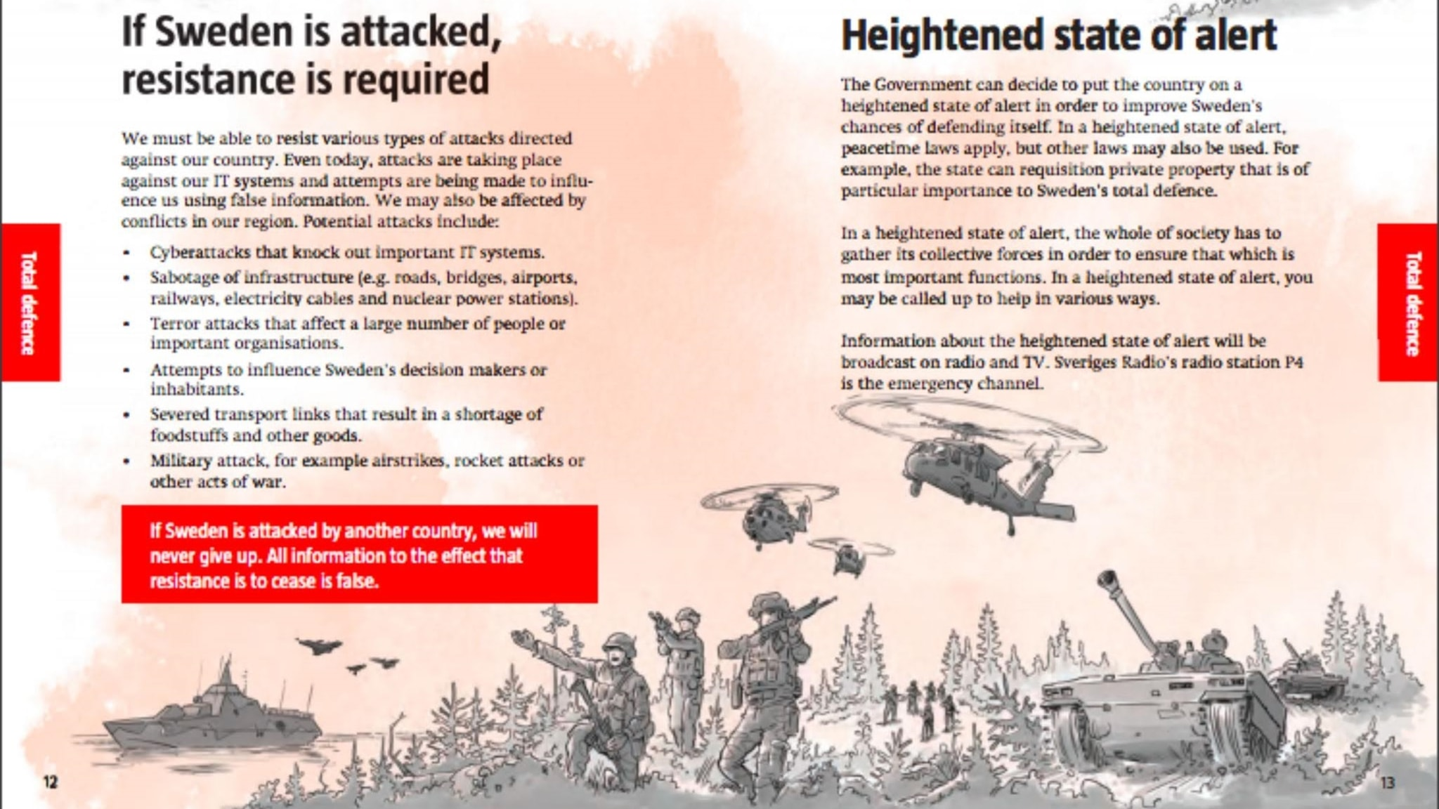 The leaflet shows tanks and helicopters on Swedish soil.