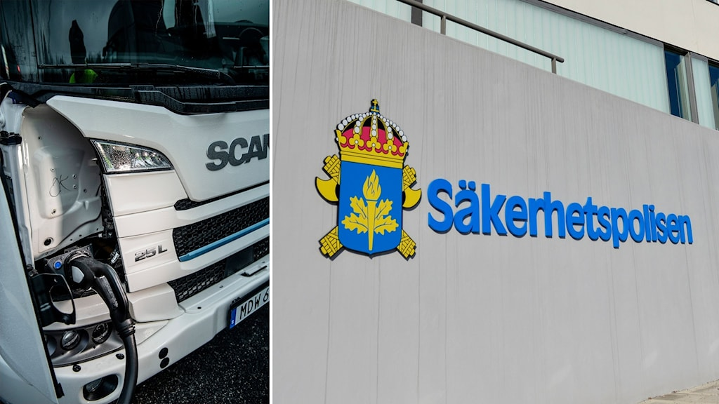 A split image showing a lorry from Scania and the logo of the security service Säpo