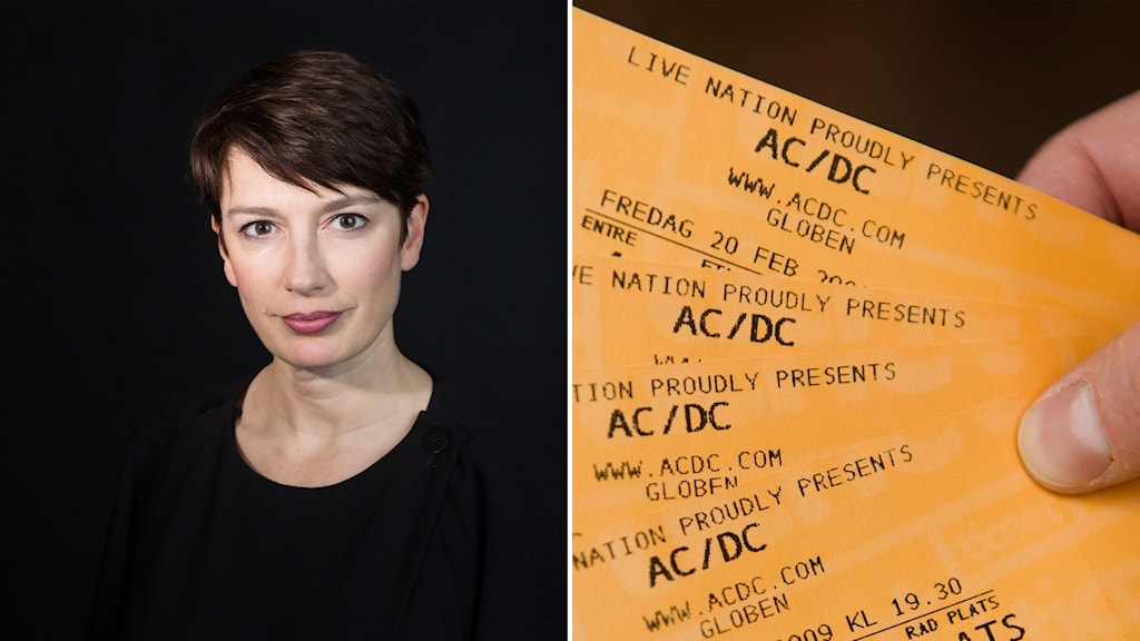 Picture of a woman, and a hand holding tickets.