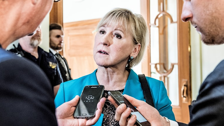 Swedish Foreign Minister Margot Wallström speaking to reporters.