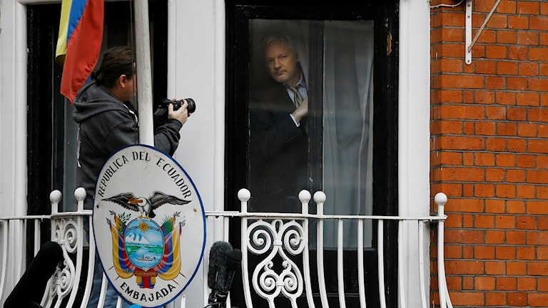 Julian Assange at the Embassy of Ecuador in London. Photo: Kirsty Wigglesworth/AP/TT