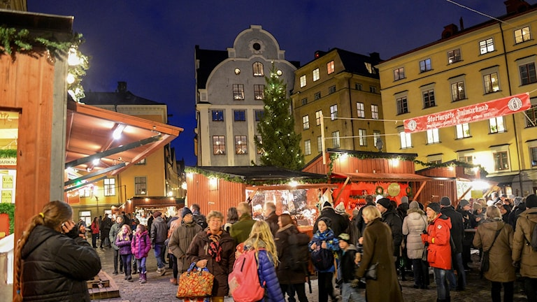 The popular Christmas market in Stockholm's old town.