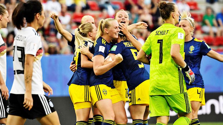 Sweden celebrating the second goal by Stina Blackstenius