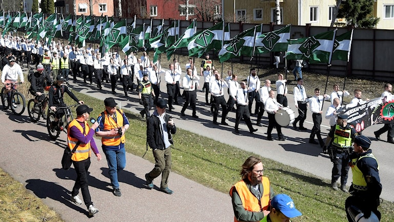 An earlier march by the Nordic Resistance Movement in May in Falun.