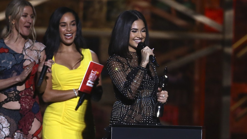 Mabel accepts the award for British Female Solo Artist on stage at the Brit Awards 2020.