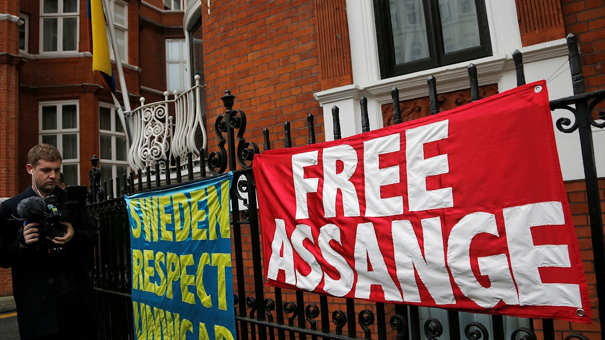 Banners outside the Ecuadorian embassy in London where Julian Assange has been holed up since 2012.
