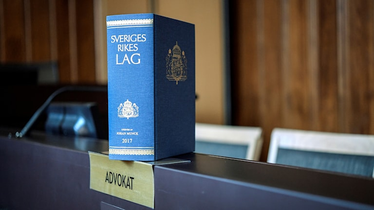 A book of the laws of Sweden on display.