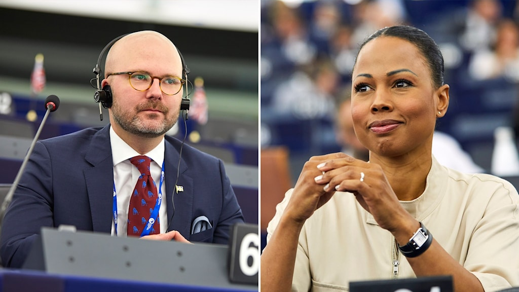Split image: close up of a man and a woman in the European Parliament.