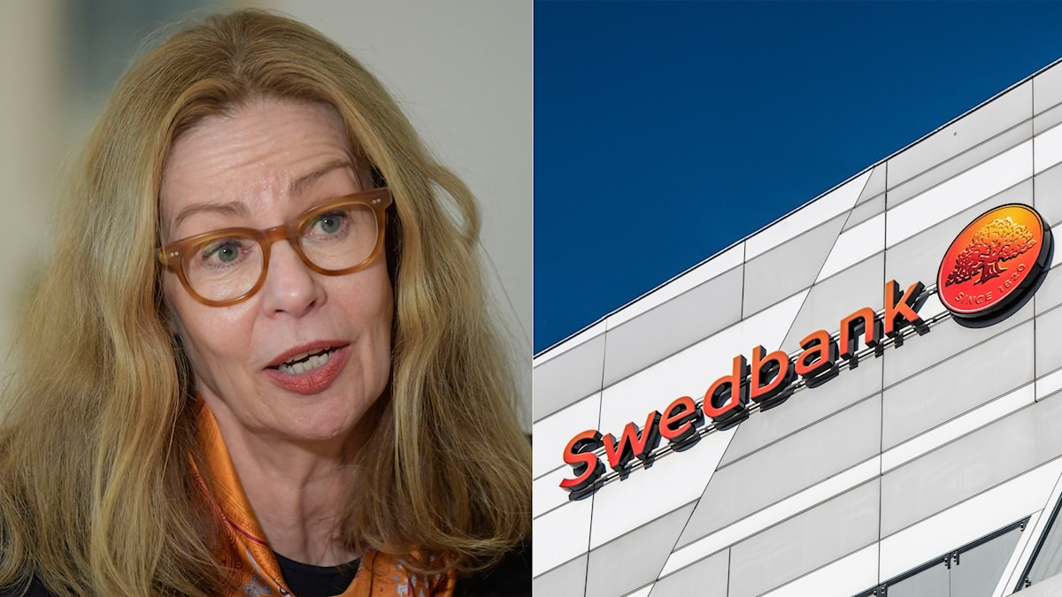 Portrait of a woman with glasses and the facade of a Swedbank building.