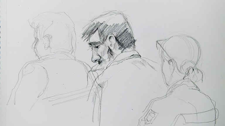 Drawing of man in court, seen from the side.