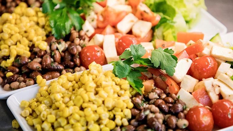 Plates full of vegetables.