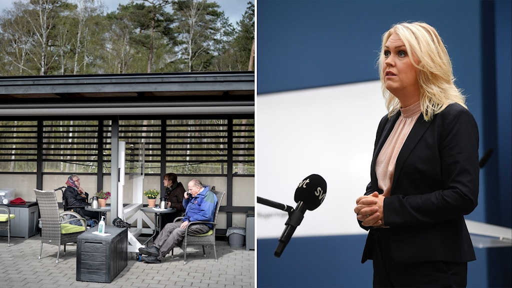 Two photos. One of older people sitting outside with a screen separating them. Another of a woman speaking to a microphone.