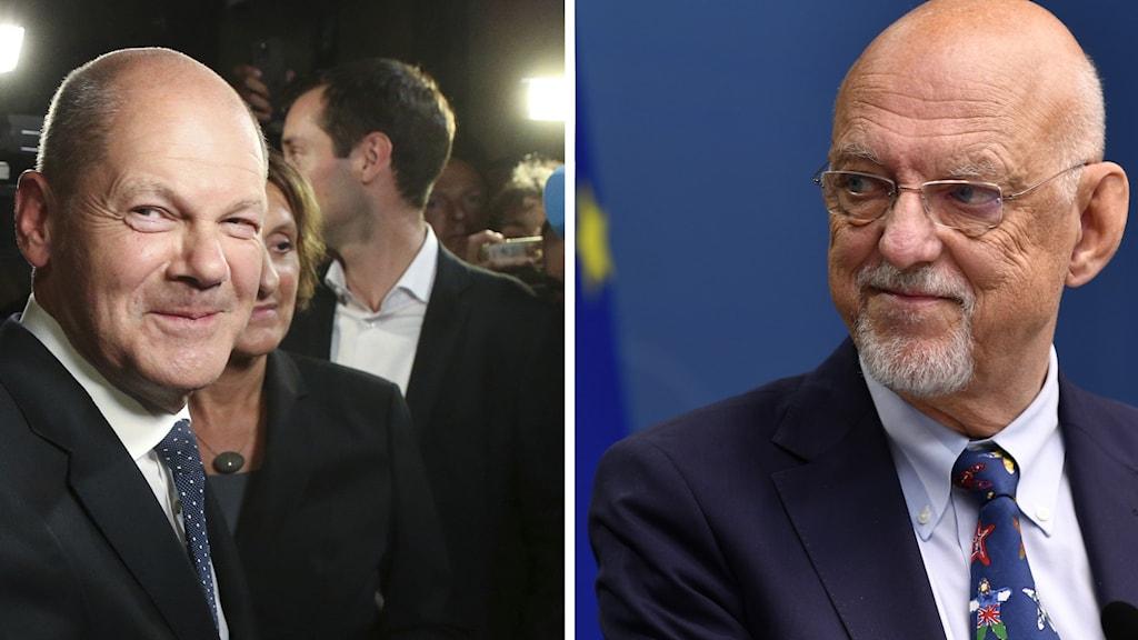 A split image with portraits of German SPD:s Olaf Scholz and Sweden's EU-minister Hans Dahlgren