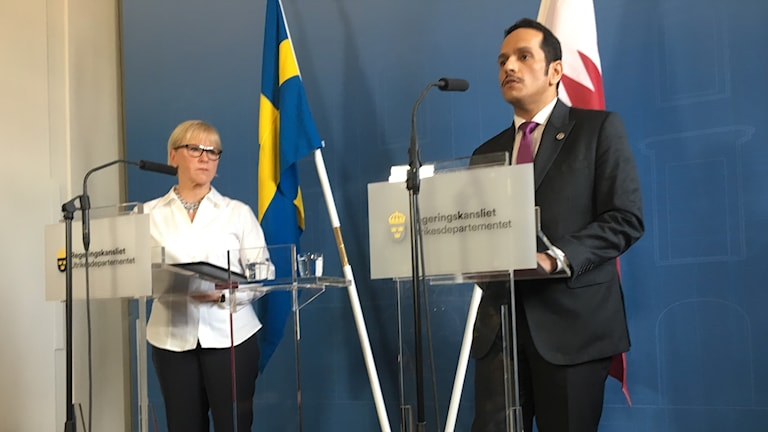 Sweden's and Qatar's foreign minister hold a press conference in Stockholm.