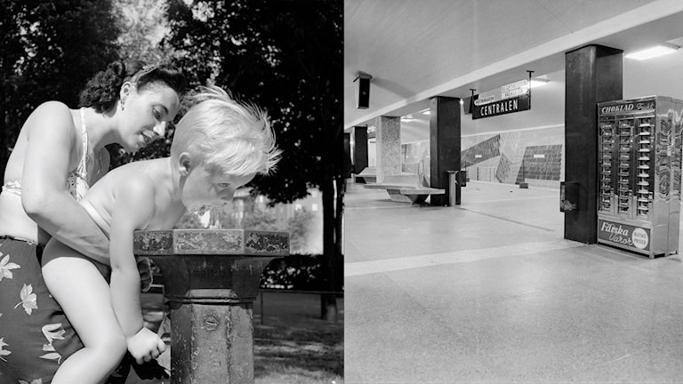"""Many say that drinking fountains used to be more common in Sweden. On the left, a woman is shown helping a child at a Stockholm drinking fountain in 1944. (""""Barn dricker vatten ur en drickvattenfontän""""), 1944. http://stockholmskallan.se/Soksida/Post/?nid=14655. CC BY-NC-SA 2.5 SE.  https://creativecommons.org/licenses/by-nc-sa/2.5/se/. Photo: Olle  Widfeldt / Svenska Dagbladet. According to the Stockholm Transport Museum, there used to be a drinking fountain on the platform at Stockholm's central station, pictured on the right in 1958. Photo: Stockholm Transport Museum"""