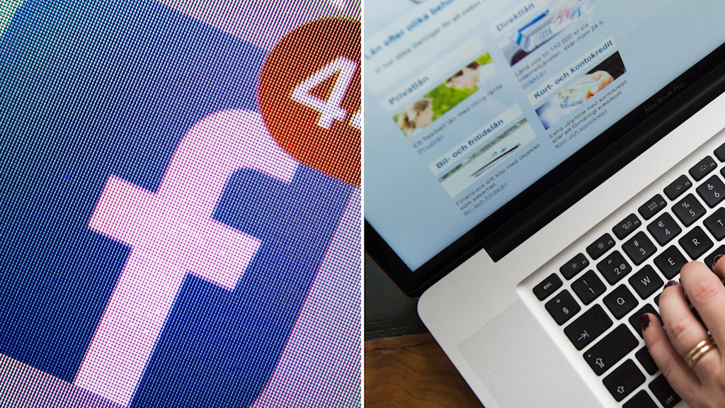 Split image of the Facebook logo and a close-up of a person logging into a computer.