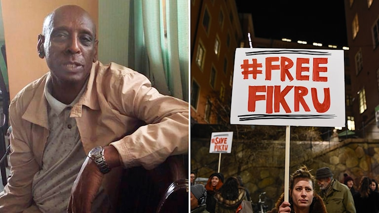 Fikru Maru, left, and a protest held in Stockholm demanding his release.
