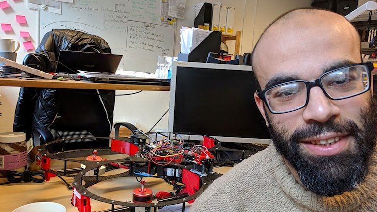 Ahmed AlNomany with one of his prototype drones.