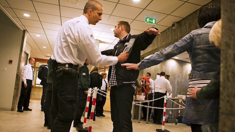 Radio Sweden. Security was tight at the Malmö court on Monday morning. Photo: Scanpix