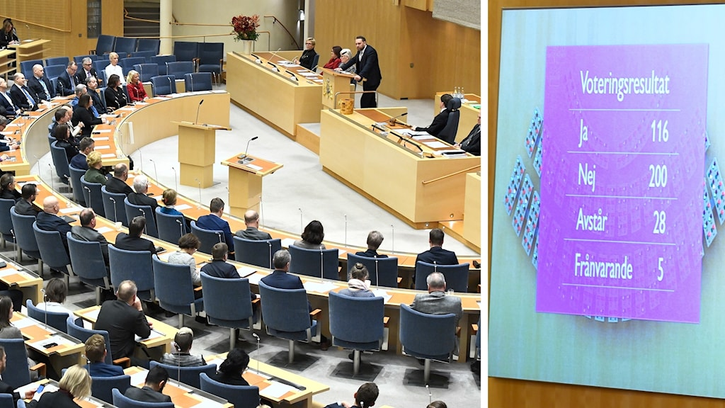 Lawmakers sitting in Parliament and a screen showing the vote tally.