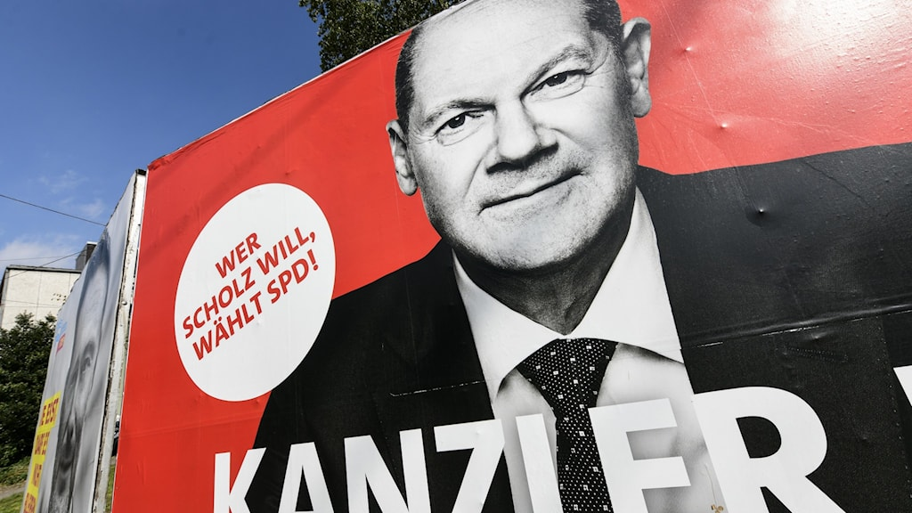 Close-up of a poster of the Social Democrat leader in Germany prior to the election 2021.