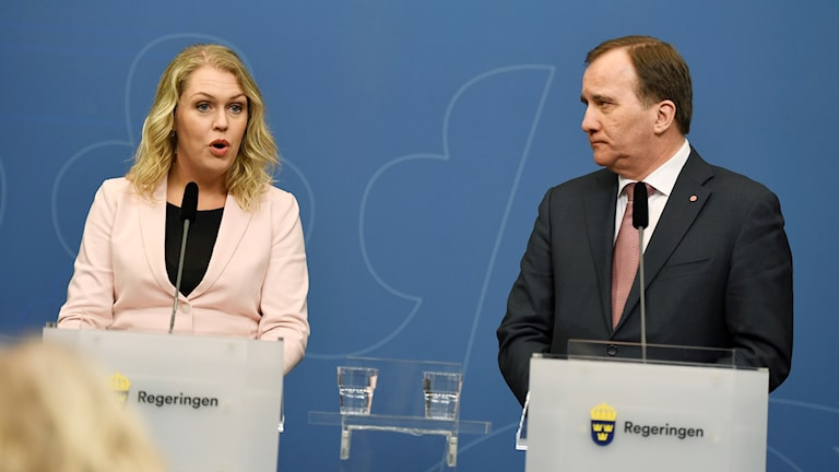 Lena Hallengren speaks at a press conference presenting her as Sweden's newest minister.