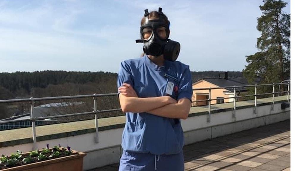 Registered nurse Ebba Gyberg works on the infection ward at a Stockholm hospital.