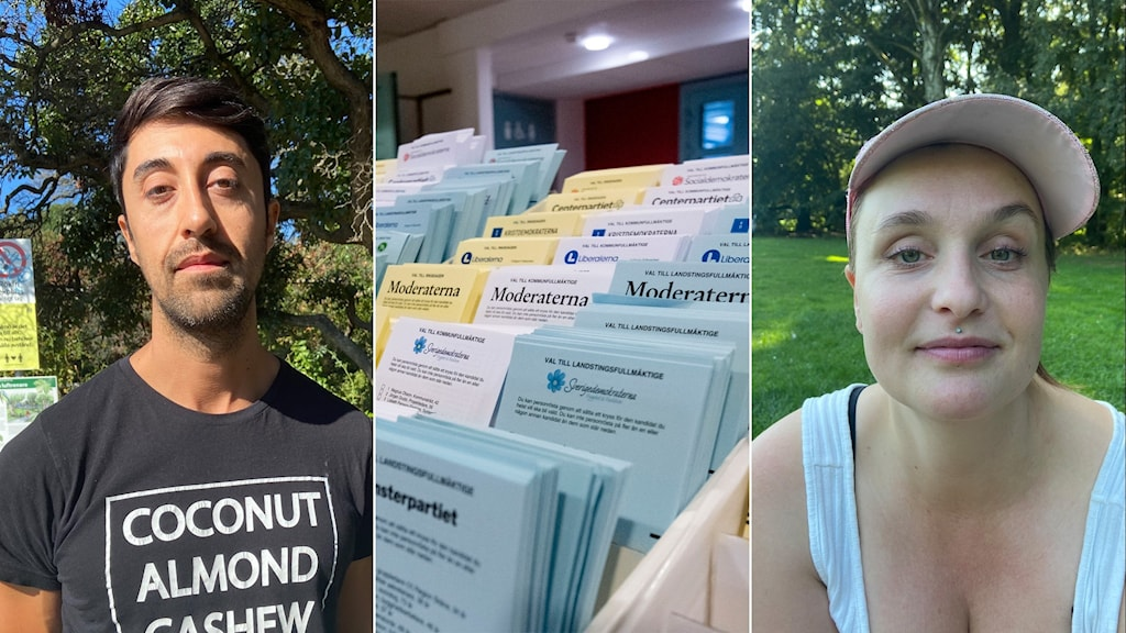 Two Malmö residents, and a picture of election ballot papers.