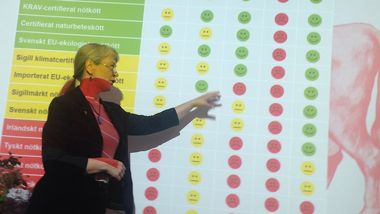 Ann Richert of the WWF pointing out the rankings for different kinds of beef. Photo: Frank Radosevich / Radio Sweden.