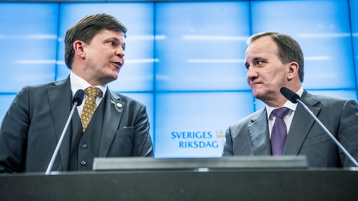 Stefan Löfven (right) will lead a Social Democrat/Green coalition govrenment for the second time.