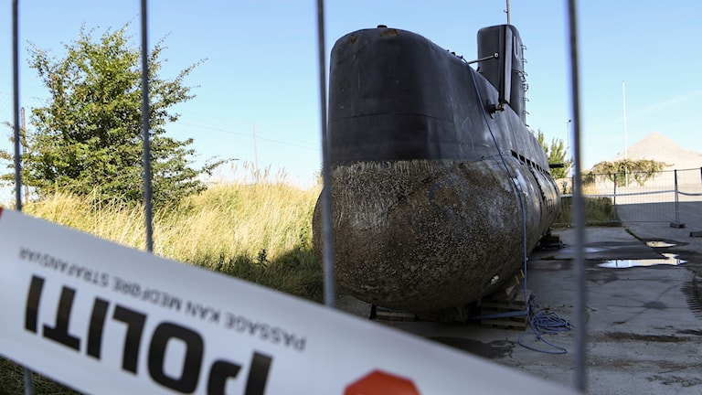A picture of the recovered submarine in Danish police custody.