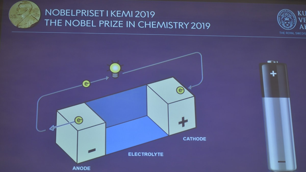 A picture from a video slide presentation at the 2019 Nobel Chemistry prize announcement.
