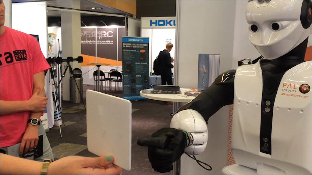 A humanoid robot that can walk, talk, shake hands and follow movements. Photo: Brett Ascarelli / Radio Sweden.