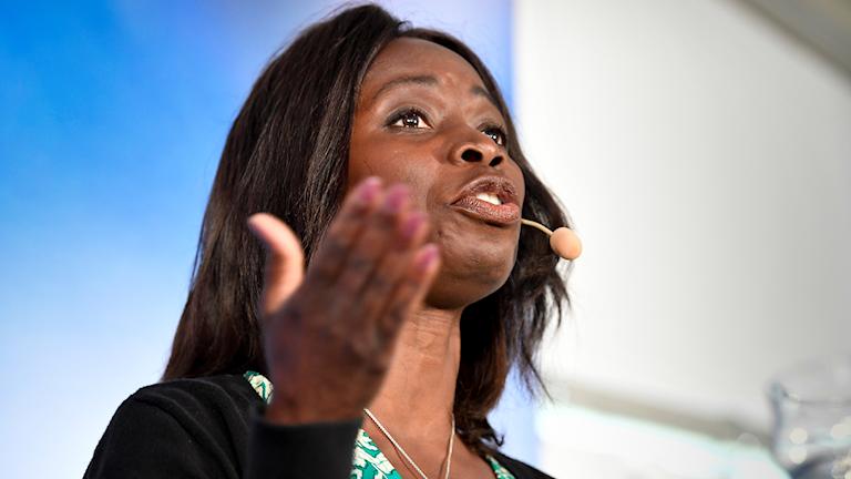 Liberal party leader Nyamko Sabuni talking at Almedalen