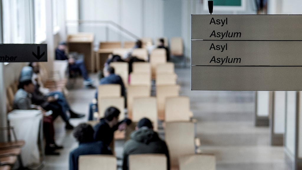 A sign for asylum cases at the Migration Agency's office in Stockholm.