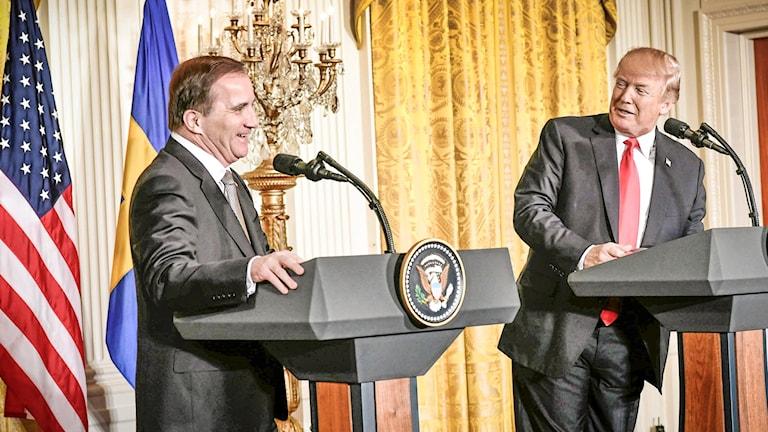 US President Donald Trump welcomed Prime Minister Stefan Löfven.