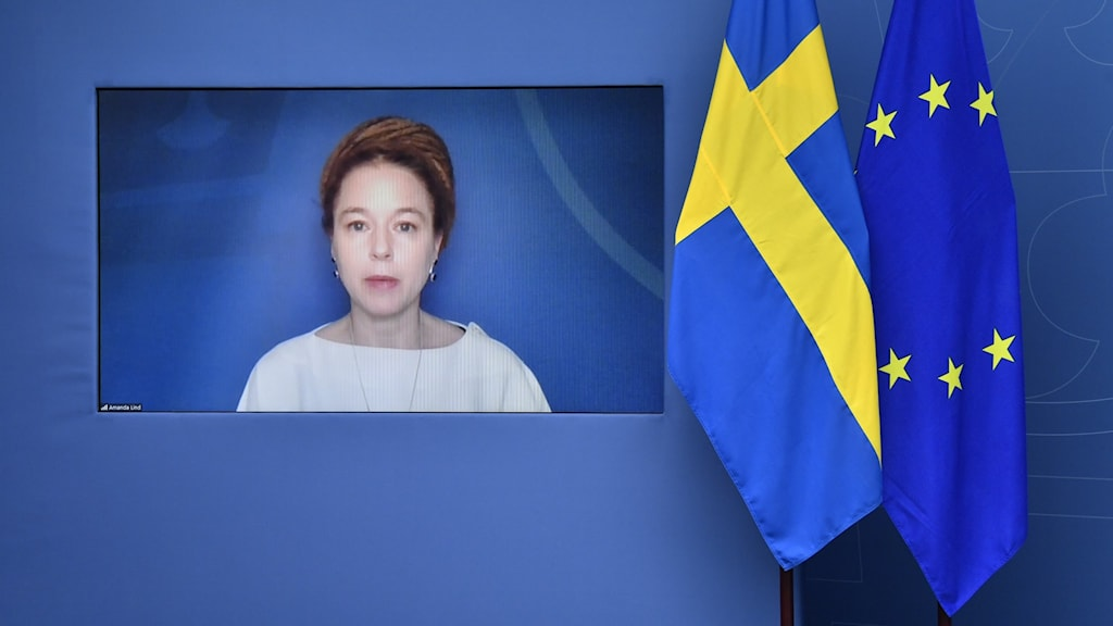 A portrait of a woman, Culture and Sports Minister Amanda Lind, on a screen, with Swedish and EU flags beside it.