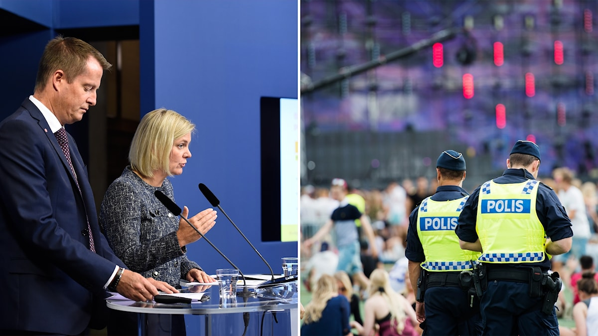 Minister for Home Affairs Anders Ygeman and Minister for Finance Magdalena Andersson announced today that the police will receive an additional SEK 2.7bn over the coming four years. Photo: Stina Stjernkvist/TT, Izabelle Nordfjell/TT