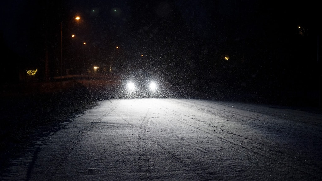 snowflakes illuminated by a pair of headlights as a car drives on a snowy road in the evening.