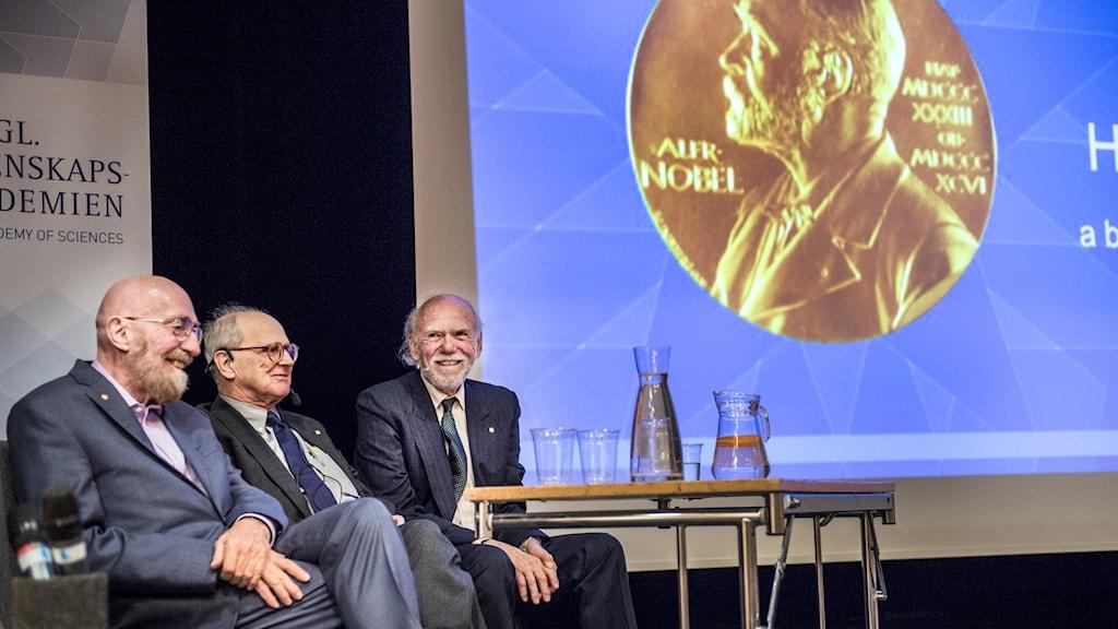 Last year's physics laureates, Rainer Weiss, Barry Barish and Kip Thorne.