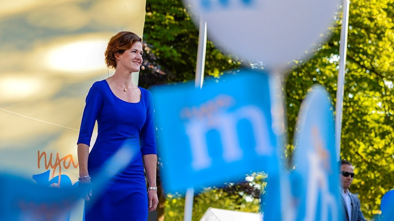 Moderate Party leader Anna Kinberg Batra at Almedalen on Saturday. Photo: Henrik Montgomery / TT.